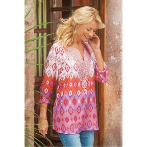 Soft Surroundings Cinnabar Bobo Embroidered Tunic